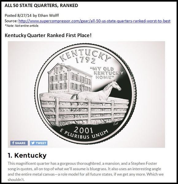Kentucky Quarter Ranked First Place