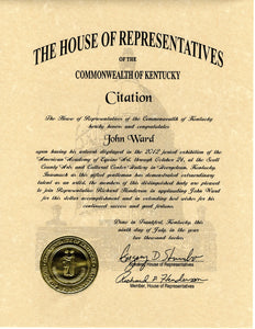 John Ward Received Honor from House of Representatives for American Academy of Equine Art