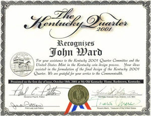 Kentucky State Quarter Award John Ward