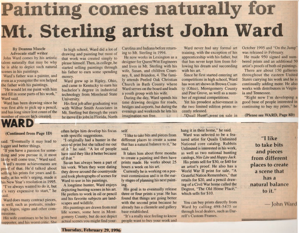 Painting Comes Naturally for Mt. Sterling Artist John Ward