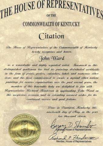 House of Representatives Citation John Ward