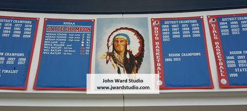 Indian Logo with Sports Banners by John Ward