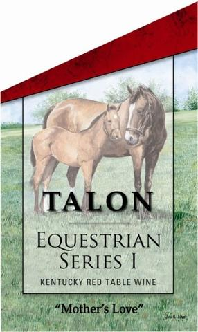 Mothers Love by John Ward featured on Talon Winery wine bottle equestrian series