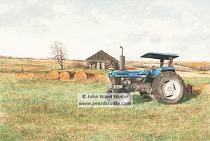 6610 End of Day New Holland by John Ward www.jwardstudio.com tractor barn farm hay