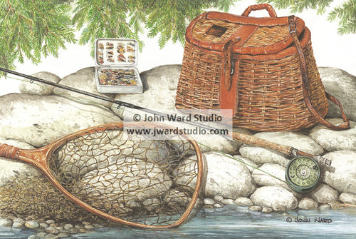 Bait and Tackle by John Ward www.jwardstudio.com fishing gear net fishing pole basket bait