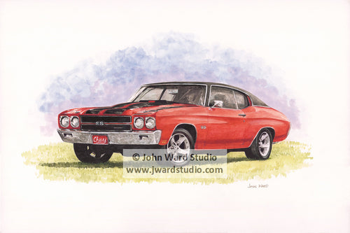 Chevelle by John Ward www.jwardstudio.com car vintage red sports car