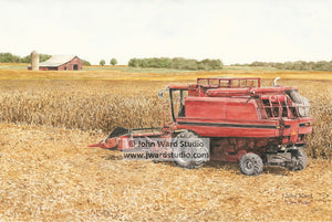 Corn Picker by John Ward www.jwardstudio.com farm tractor Massey Fergusen