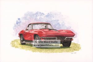 Red Corvette by John Ward www.jwardstudio.com car vintage sports car