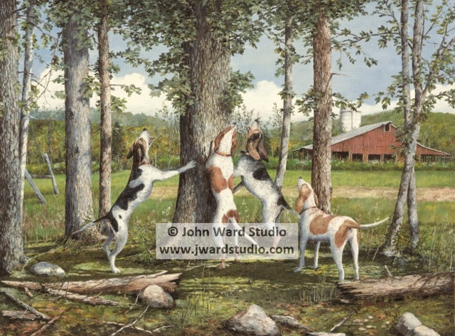 Dusk til Dawn by John Ward www.jwardstudio.com beagle coon dogs hunting