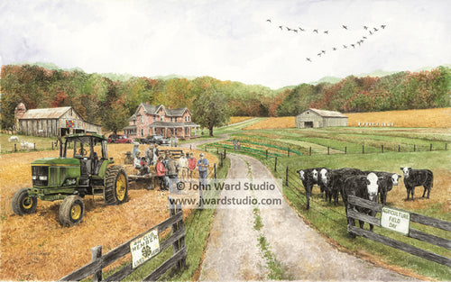 Field Day by John Ward www.jwardstudio.com cattle farm barn John Deere tractor
