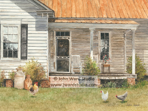 Front Porch Picking by John Ward www.jwardstudio.com primitive Americana country porch chicken rooster rocking chair
