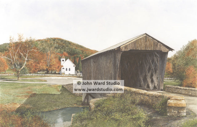Goddard White Covered Bridge by John Ward www.jwardstudio.com Flemingsburg Kentucky church Pea Ridge Mountains