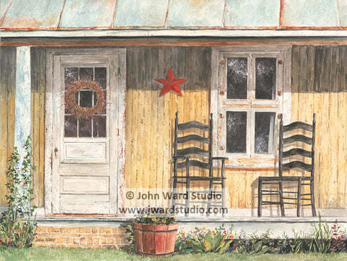 Grandma's Porch by John Ward www.jwardstudio.com primitive Americana country porch
