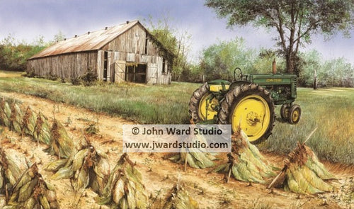 Harvest Time by John Ward John Deere tractor tobacco barn farm