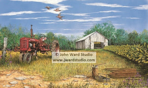 Housing Time by John Ward Farmall Tractor www.jwardstudio.com tobacco barn farming
