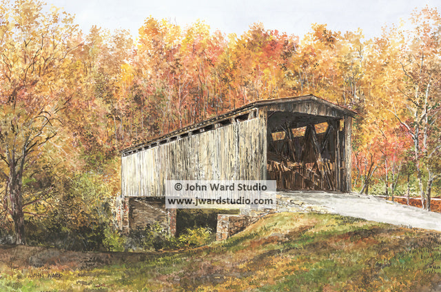 Johnson Creek Covered Bridge by John Ward www.jwardstudio.com Kentucky Robertson County Blue Licks Battlefield State Park