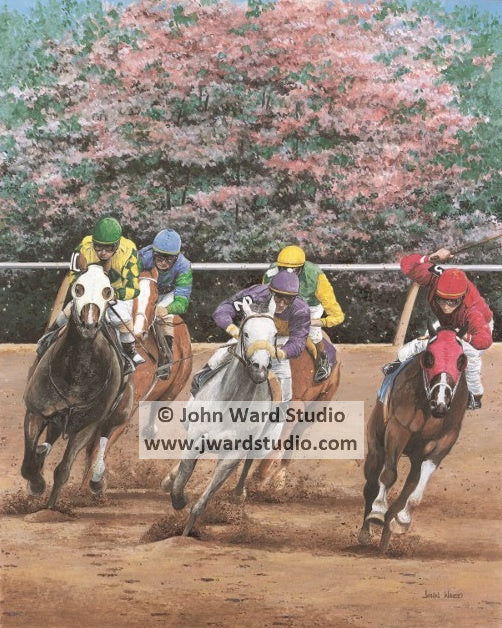Last Turn by John Ward www.jwardstudio.com horse racing Keeneland Churchill jockeys