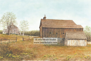 End of Another Season Place by John Ward www.jwardstudio.com primitive country barn farm landscape flower