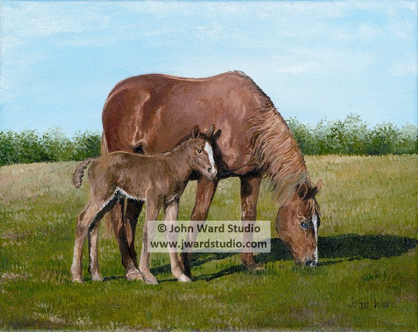 Mare and Colt by John Ward www.jwardstudio.com horse mother and baby farm