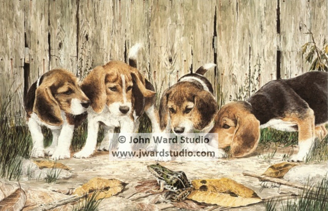 Puzzled Pups by John Ward www.jwardstudio.com beagle dog frog puppy