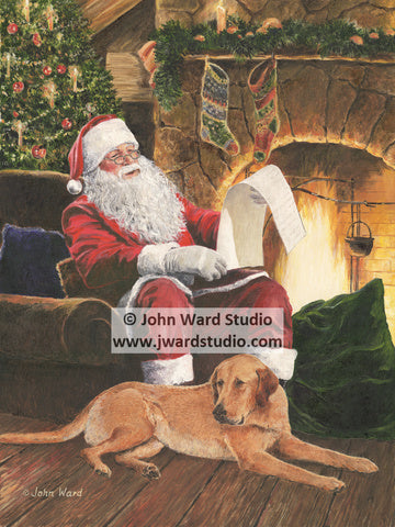 Letters to Santa by John Ward www.jwardstudio.com fireplace dog Christmas holiday toys presents naughty or nice