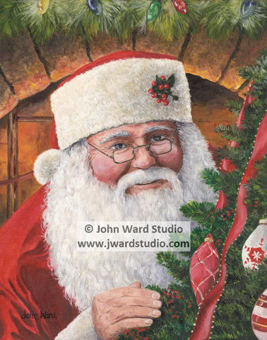 Santa's Peeking by John Ward www.jwardstudio.com Christmas Holiday