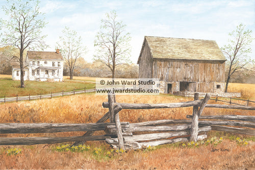 The Homstead by John Ward www.jwardstudio.com barn farm fence Americana country primitive