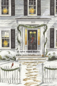 Winter Greetings by John Ward www.jwardstudio.com Christmas holiday home snow cardinal