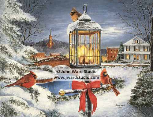 Winter Splendor by John Ward www.jwardstudio.com winter cardinals snow holiday