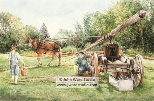 Working the Sorghum Mill by John Ward www.jwardstudio.com farm West Liberty Kentucky Sorghum Festival