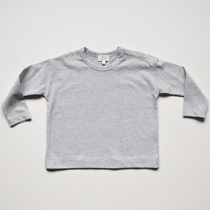 The Simple Folk The Long Sleeve Boxy Tee - Grey Melange