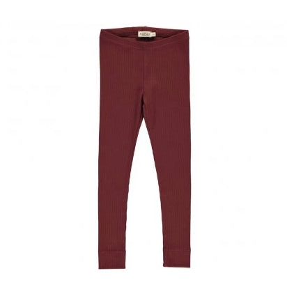 Mar Mar Copenhagen Cotton Modal Ribbed Leggings Wine