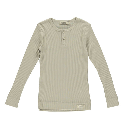 MarMar Copenhagen Mar Mar Long Sleeve Henley Tee Shirt - Grey Sand
