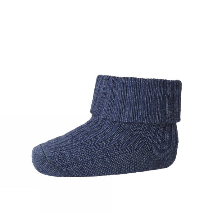 MP Denmark Ribbed Wool Ankle Socks - Indigo