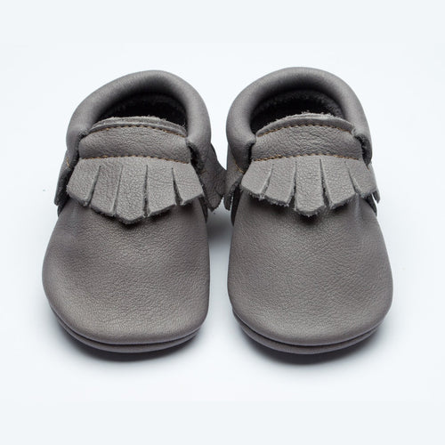 Wolfie and Willow Classic Flint Moccasins Grey eco leather 0-6 years