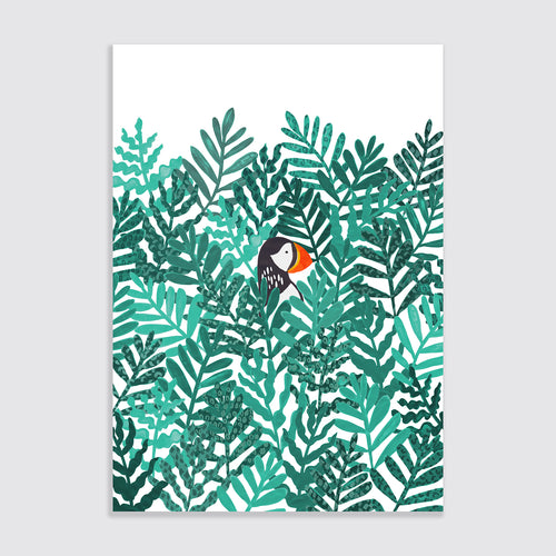 Emma Alviti Little Em Puffin And Ferns Children's A3 Art Print