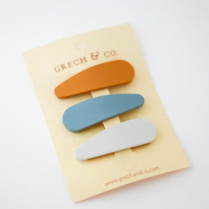 Grech & Co Matte Snap Clips - Set of 3 - Golden | Light Blue | Buff