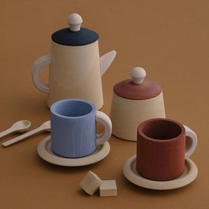 Raduga Grez Wooden Tea Set - Terracotta & Blue