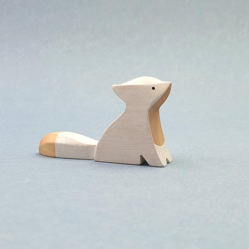 Brin d'Ours handmade in France wooden Sitting arctic Fox