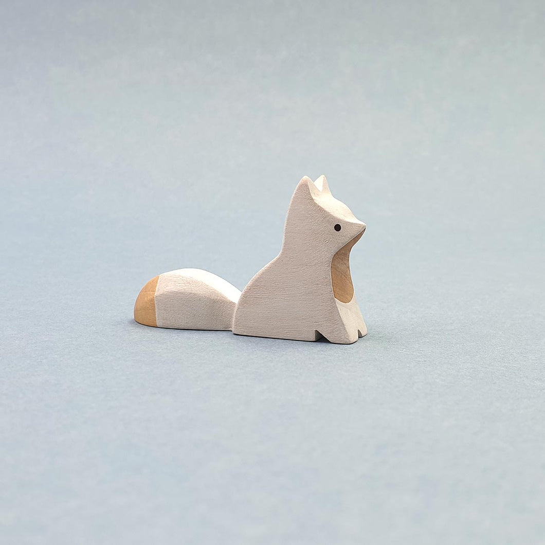 Brin d'Ours handmade in France wooden Sitting Baby Arctic Fox