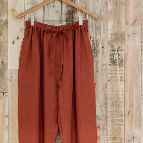 OffOn Clothing Womens Relaxed Linen Trousers - Redwood