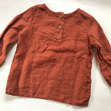 Hand Embroidered Washed Rust Linen Shirt