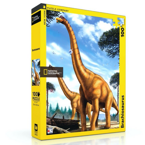 New York Puzzle Company Brachiosaurus - 100 Piece Mini Puzzle - National Geographic