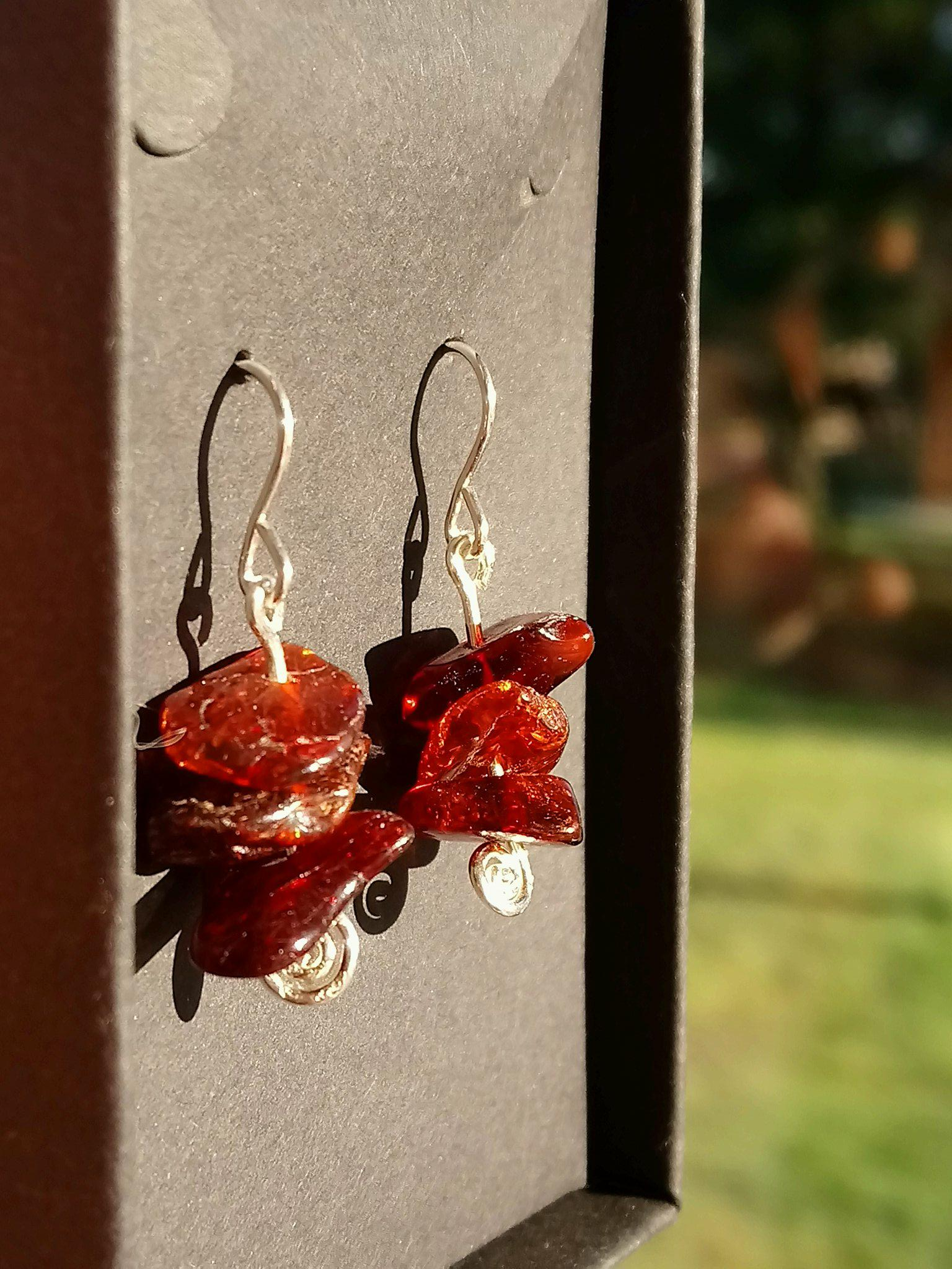 Baltic Amber and Eco Sterling Silver Spiral Earrings