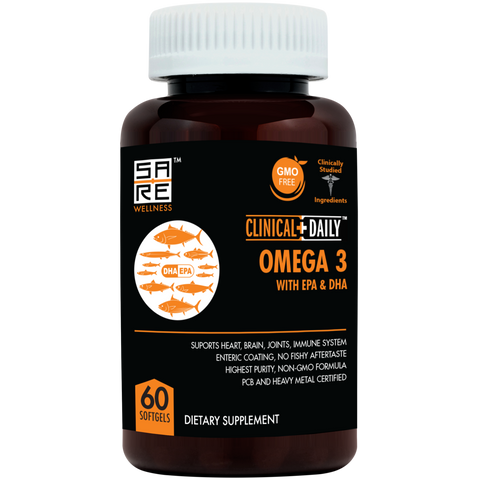 CLINICAL DAILY Vegan Omega 3-6-9 + DHA Gummy OR SOFTGEL Form Omega + EPA + DHA Liquid Fish Oil from SaRe Wellness - Where Healthy Families Thrive
