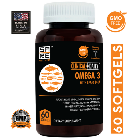 Image of CLINICAL DAILY Vegan Omega 3-6-9 With DHA Gummy or Omega + EPA + DHA Liquid Fish Oil Softgel from SaRe Wellness - Where Healthy Families Thrive