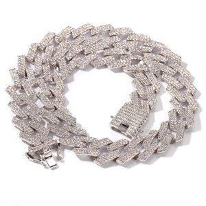 3 Row Rhinestone Cuban Link chain