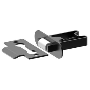 Stainless Steel, Roller Catch. Dimensions: Faceplate W22 x H75; Body W22 x H35 x L51 in Satin Black Chrome