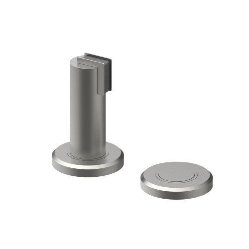 530 Door Stop and Door Holder,  Magnetic, Floor Mounted or Wall Mounted, 25mm diam. x 76mm on 50mm diam backplate. Strike is 50mm diam. x 10mm.