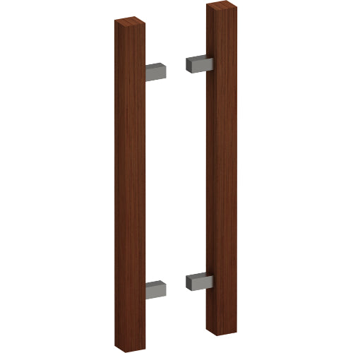 G4211-40 Raw Timber Entrance Pull Handle, American Black Walnut, Back to Back Pair, CTC800mm, H1000mm x 40mm x 40mm x Projection 85mm
